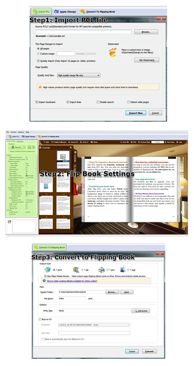 Flash page flip software to convert printer PCL to flash